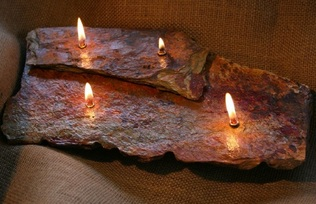 Four Flame-Double Layer Rock Candle-Brown