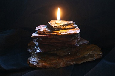 Single Stacked Tower Brown Rock Candle